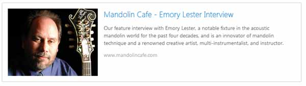 Mandolin Cafe interview with Emory Lester